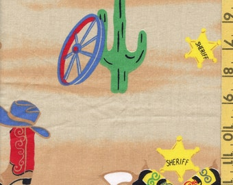 Cowboy fabric conversational print wild west theme