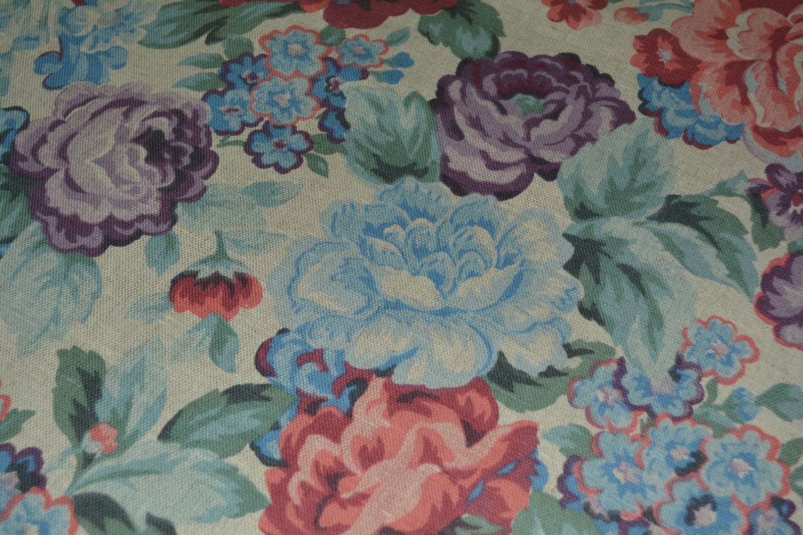 Cottage Roses Vintage Linen Upholstery Fabric Lavender Floral Shabby