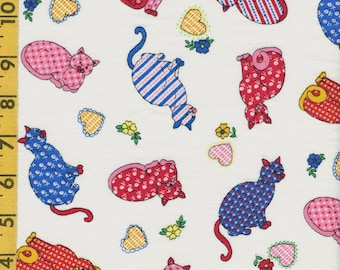 Vintage fabric, tossed calico Cats fabric