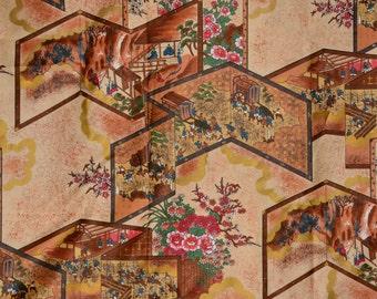 Japanese print scenic fabric, vintage Hoffman fabric Beachcomber
