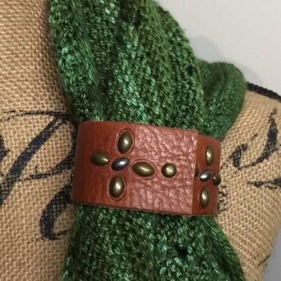 Upcycled Turquoise Studded Leather Shawl Cuff