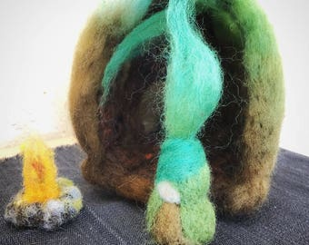 Root Child and Home needle felted storytelling nature table Spring