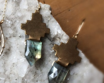 Bronze + Faceted Labradorite Earrings
