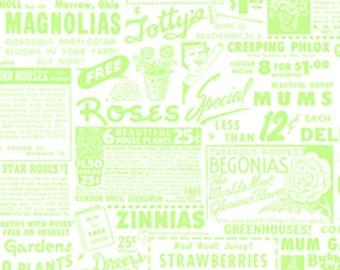 Pam Kitty Garden - Green On White Ads - 1 Yard For 9.95 Dollars