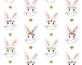Reserved for Lilbowpeep 1.25 yes Wonderland Main - By Melissa Mortensen - For Riley Blake - White Bunnies (SC5180) - One Yard - 9.95 Dollars