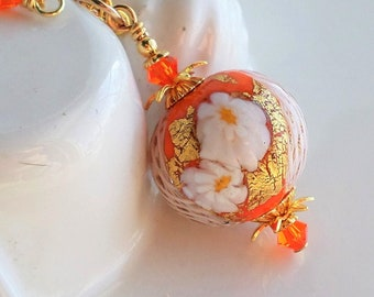 Orange Murano Glass Necklace, Gold Murano Glass Pendant Necklace, Orange Murano Jewelry, White Flower Venetian Glass Necklace, Gold Pendant