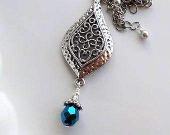 Antique Silver Pendant Necklace, Silver Chandelier Necklace, Gothic Style Silver Pendant Necklace, Blue Crystal Necklace, Vintage Look
