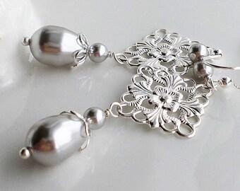 Silver Filigree Earrings, Gray Pearl Earrings, Long Pearl Earrings, Silver Pearl Chandelier Earrings, Filigree Earrings, Bridal Jewelry