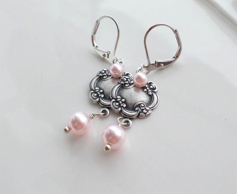 e33af54fe073a Light Pink Pearl Earrings, Art Nouveau Silver Earring, Victorian Silver  Jewelry, Aged Silver Brass Medallion, Vintage Wedding Bridal Jewelry