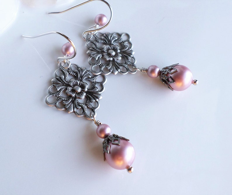 a9ae58507d367 Pink Pearl Silver Filigree Earrings, Chandelier Earrings, Swarovski Powder  Rose Pearl Wedding Jewelry, Victorian Aged Silver Pearl Earrings