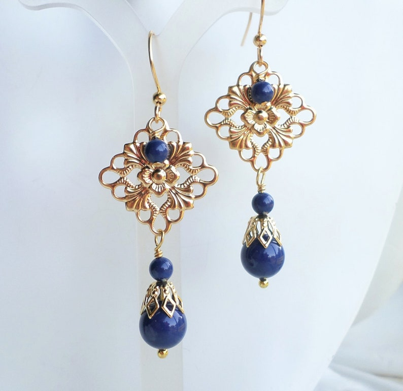 f972f8b26d8fc Lapis Blue Swarovski Pearl Filigree Wedding Earrings, Blue Gold Wedding  Bridal Party Jewelry Gift, Chandelier Blue Gold Statement Earrings