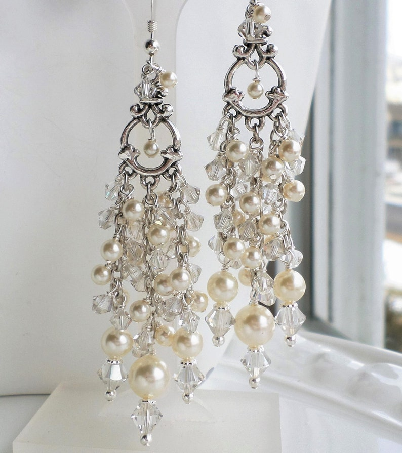 7141065ccc2bc Cream Swarovski Pearl Antique Silver Wedding Chandelier Earrings, Bridal  Cream Pearl Victorian Style Jewelry, Ivory Pearl Victorian Earrings