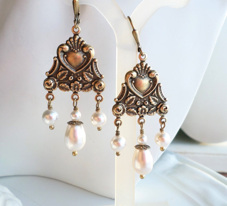 7a6828a09eed9 Art Nouveau Earrings, White Swarovski Pearl Chandelier, Victorian Antique  Gold Brass Earrings, Nouveau Jewelry, Renaissance Vintage Jewelry