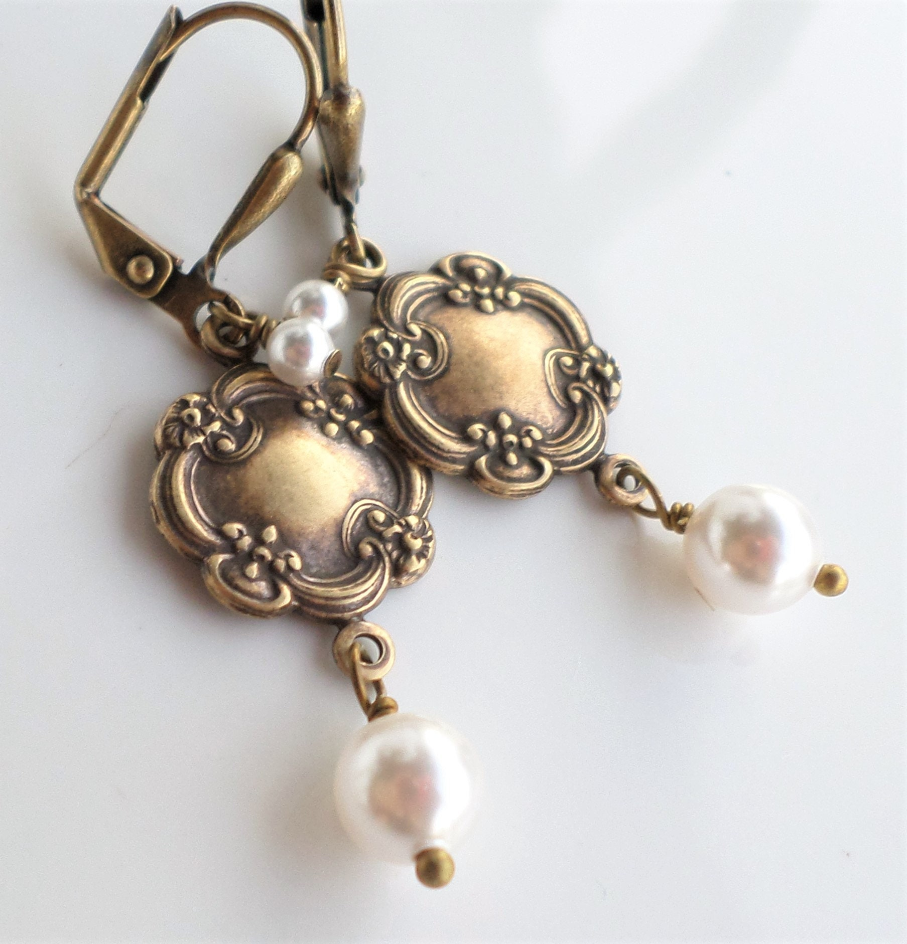 b07b31e74ea26 Victorian Art Nouveau Antique Brass Medallion Jewelry, Aged Brass Dangle  Earrings With WHITE Swarovski Pearls, Victorian Jewelry, Reign