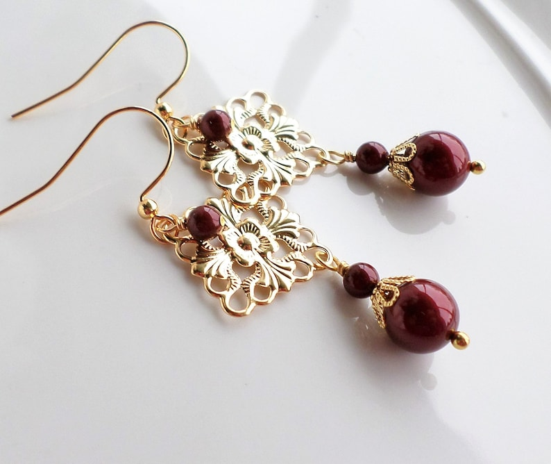 13e11f26665d4 Dark Red Swarovski Pearl Gold Filigree Chandelier Earrings, Red Pearl  Wedding Jewelry, Christmas Holiday Red Gold Earrings, Nouveau Jewelry
