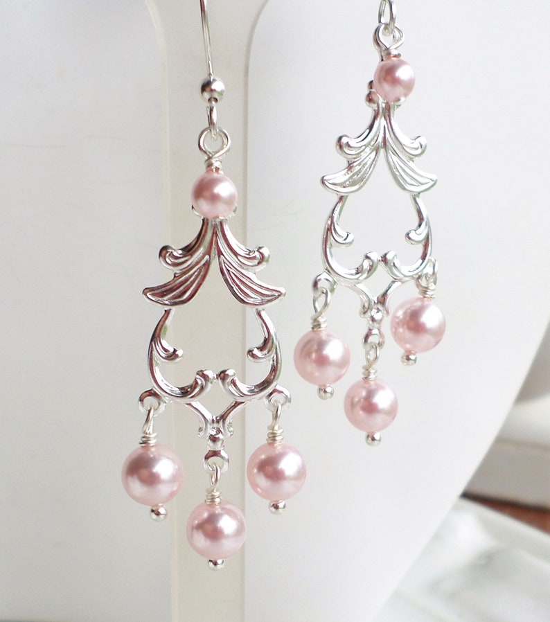 fd03731320ff7 Light Pink Pearl Earrings, Swarovski Pink Pearls, Art Nouveau Silver  Chandeliers, Pink Pearl Victorian Earrings, Pearl Bridesmaid Gift