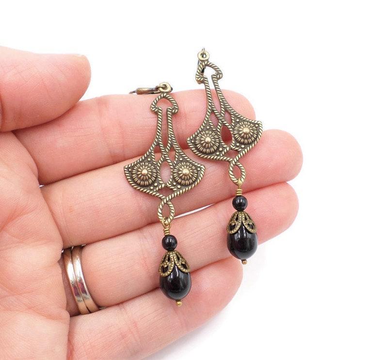 Girlfriend Medieval Brass Dangle Earrings Black Pearl Earrings Mourning Jewelry Black Jewelry Gift For Mom Renaissance Earrings