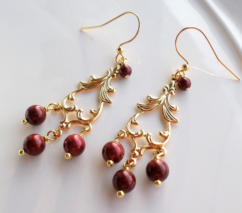 30c2ed9ba931a Dark Red Swarovski Pearl Gold Chandelier Earrings, Wine Red Pearl Dangles,  Red Pearl Bridesmaid Wedding Jewelry, Christmas Earrings