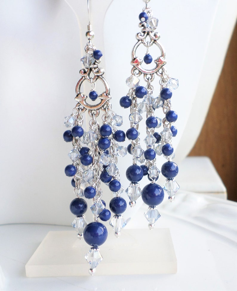 8c59ae90e5667 Lapis Blue Earrings, Swarovski Pearl Chandelier Earrings, Blue Crystals,  Long Pearl Earrings, Victorian Chandelier Earrings, Something Blue