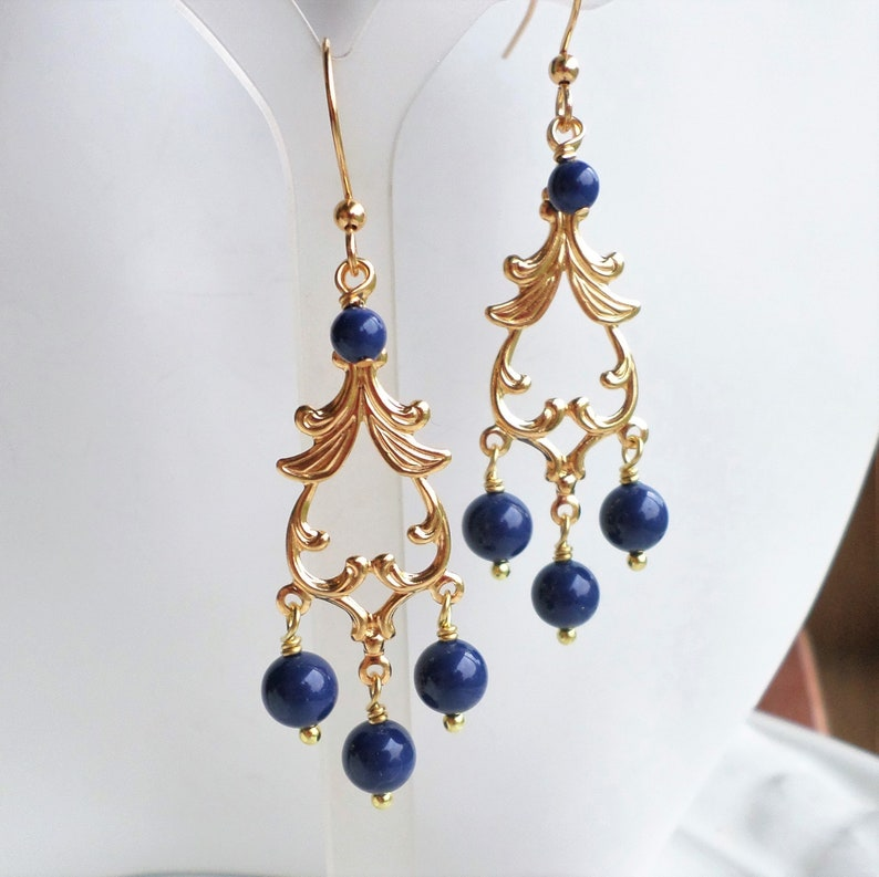 08ffc96fe90cc Dark Blue Pearl Gold Chandelier Earrings, Wedding Bridal Party Blue Pearl  Jewelry, Something Blue, Swarovski Lapis Pearl Jewelry