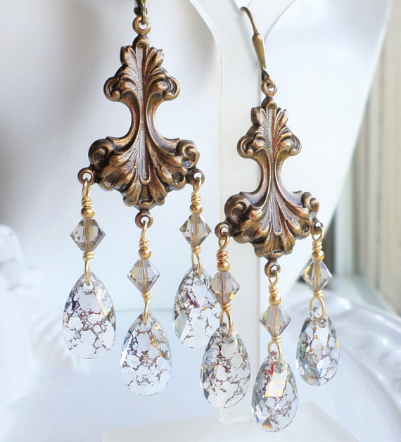 image 0 - Antique Gold Art Nouveau Brass Chandelier Earrings With Gold Etsy