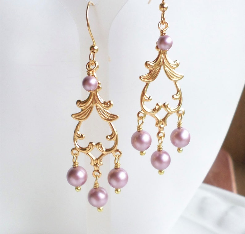 ad2b57f7e475f Pink Pearl Gold Chandelier Earrings, Swarovski Powder Rose Pearl Jewelry,  Bridal Party Pink Pearl Gift Idea, Art Nouveau Earrings