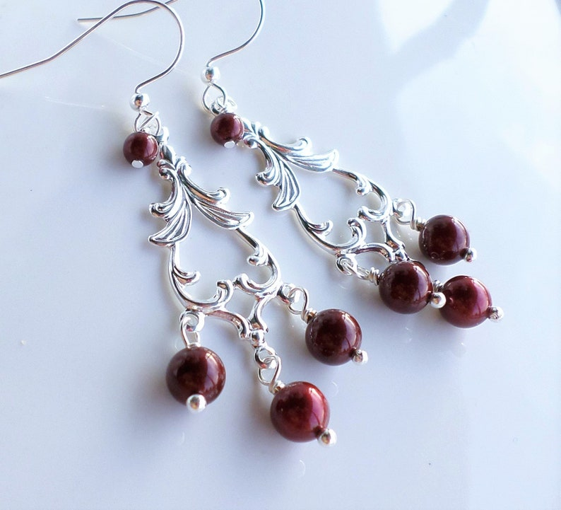 18f714ca8153d Dark Red Pearl Silver Chandelier Earrings, Swarovski Bordeaux Pearl  Jewelry, Red Wedding Bridesmaid Jewelry, Red Holiday Earrings