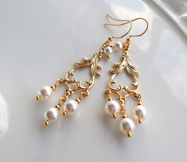 813bf14ffe9cd White Pearl Gold Filigree Victorian Chandelier Earrings, White Pearl  Wedding Jewelry, Nouveau Pearl Earrings, Bridal Party White Pearl Gift
