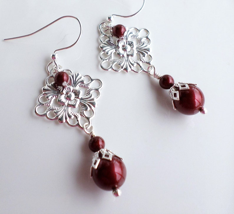 c95d648a6ce7f Dark Red Swarovski Pearl Silver Filigree Chandelier Earrings, Bordeaux  Pearl Jewelry, Filigree Bridal Earrings, Art Nouveau Red Jewelry