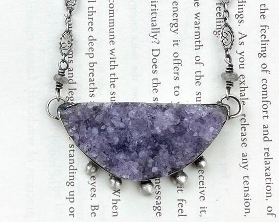 Amethyst Geode Half Moon Necklace -  OOAK Handcrafted Artisan Jewelry
