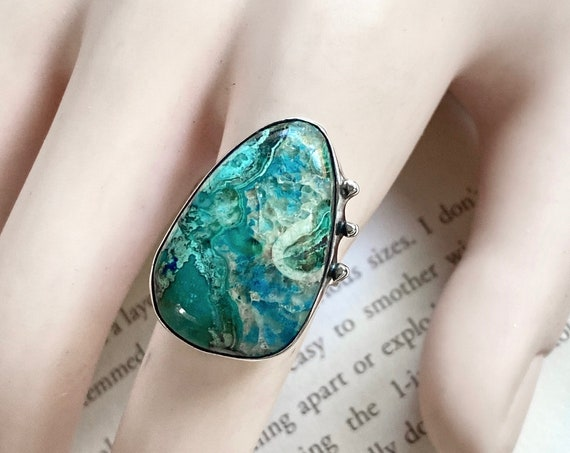 Chrysocolla Sterling Silver Ring - Size 6 - OOAK Handcrafted Artisan Jewelry