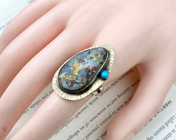 Boulder Opal & Turquoise Ring - Size 7.5 - OOAK Handcrafted Artisan Jewelry