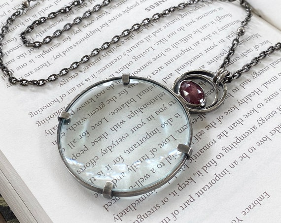 """Ruby Sterling Magnifying Glass Monocle Necklace - 2"""" Lens - OOAK Handcrafted Artisan Jewelry"""