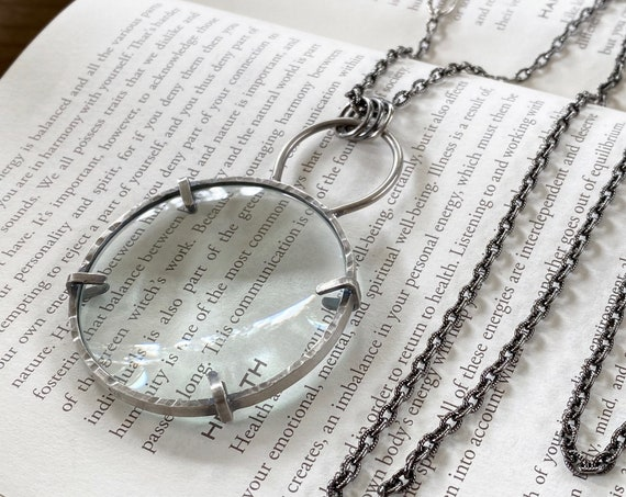 "Sterling Magnifying Glass Monocle Necklace - 2"" Lens - OOAK Handcrafted Artisan Jewelry"