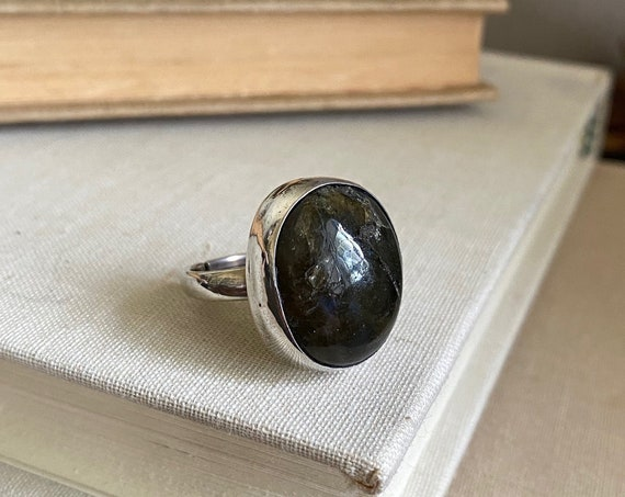 Black Agate Pebble Ring - Adjustable Size 7-9 - OOAK Handcrafted Artisan Jewelry