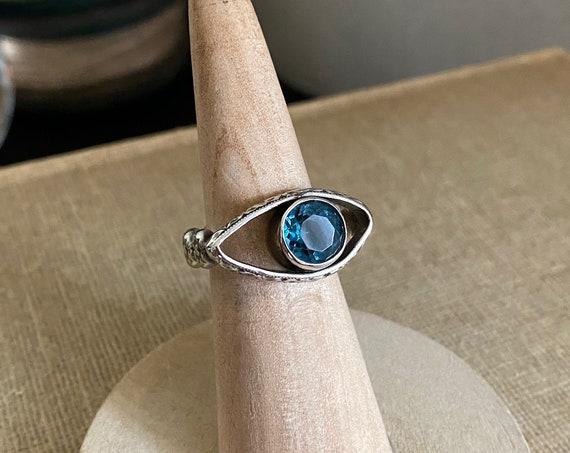 Sterling Silver London Blue Topaz Eye Ring - Size 7 - OOAK Handcrafted Artisan Jewelry