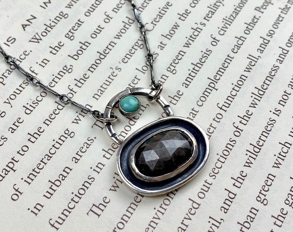 Gray Sapphire & Turquoise Sterling Necklace -  OOAK Handcrafted Artisan Jewelry
