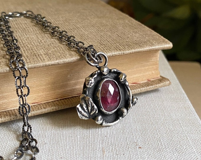 Rustic Rose-cut Ruby Sterling Nest Necklace /// One-of-a-kind Slow Crafted Artisan Jewelry