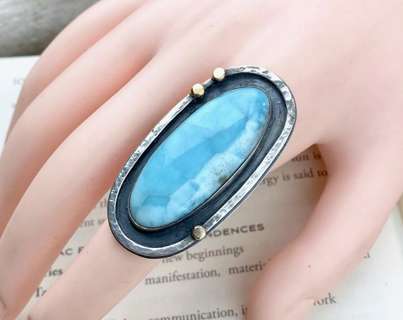 Larimar Sterling and 14k Gold Ring - Size 8 - OOAK Handcrafted Artisan Jewelry