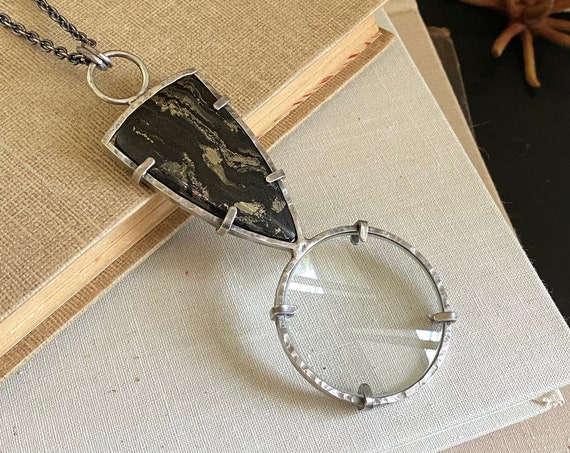 "Phyllite Sterling Magnifying Glass Monocle Necklace - 1.5"" Lens - OOAK Handcrafted Artisan Jewelry"