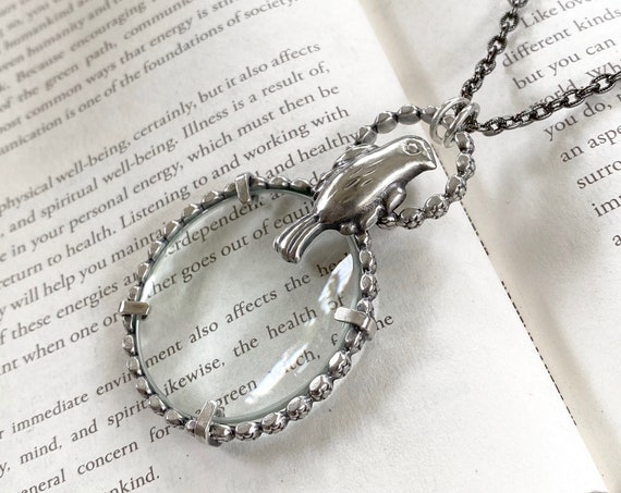 "Blackbird Sterling Magnifying Glass Monocle Necklace - 1.5"" Lens - OOAK Handcrafted Artisan Jewelry"
