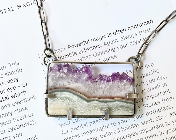 Amethyst Slice Sterling Silver Necklace - OOAK Handcrafted Artisan Jewelry