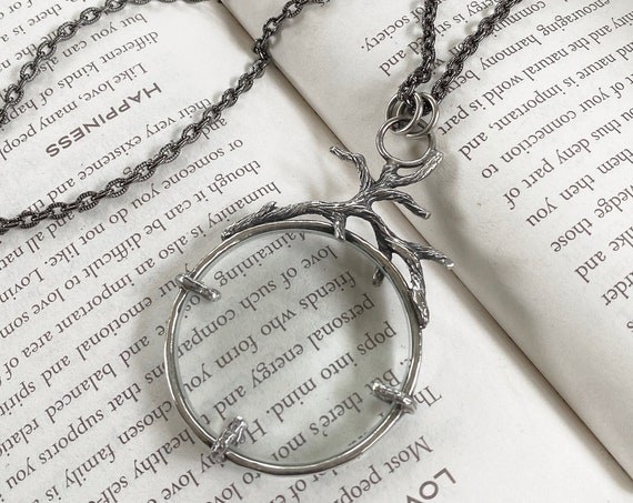 "Tree Branch Sterling Magnifying Glass Monocle Necklace - 1.5"" Lens - OOAK Handcrafted Artisan Jewelry"