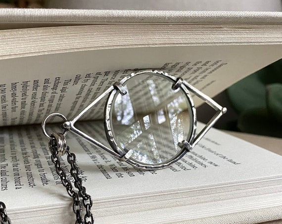 """Eye Sterling Magnifying Glass Monocle Necklace - Small 1.5"""" Lens // One-of-a-kind // Slow Crafted // Hand Fabricated // Artisan Jewelry"""