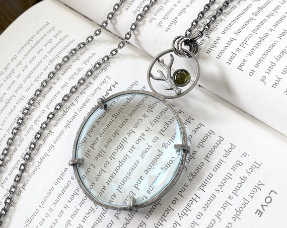 "Antler Sterling Magnifying Glass Monocle Necklace - 2"" Lens - OOAK Handcrafted Artisan Jewelry"