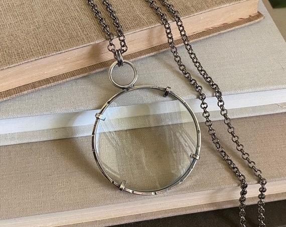 """Sterling Magnifying Glass Monocle Necklace - Large 2"""" Lens // One-of-a-kind // Slow Crafted // Hand Fabricated // Artisan Jewelry"""