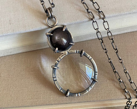 """Sterling Magnifying Glass Monocle Necklace - Mini 1"""" Lens // One-of-a-kind // Slow Crafted // Hand Fabricated // Artisan Jewelry"""