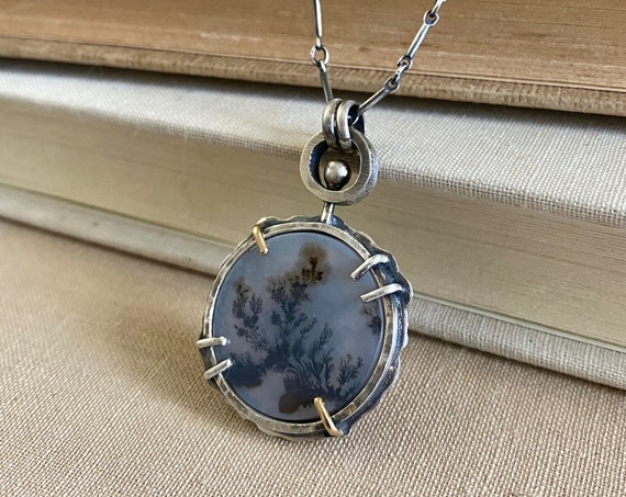 Spinner Dendritic Agate & Rutile Quartz 18k Gold Sterling Necklace - OOAK Handcrafted Artisan Jewelry