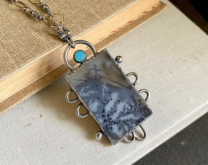 Dendritic Agate & Opal Sterling Necklace /// One-of-a-kind Slow Crafted Artisan Jewelry
