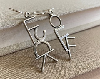 F*ck Off Earrings (#2 of 2) Sterling Silver /// One-of-a-kind Slow Crafted Artisan Jewelry